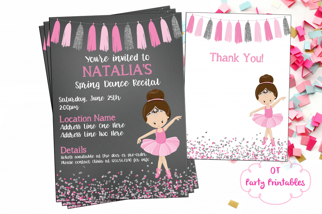 Ballet Recital Invitation Ballerina Dance Invitation Dance | Etsy | Free Printable Dance Recital Cards