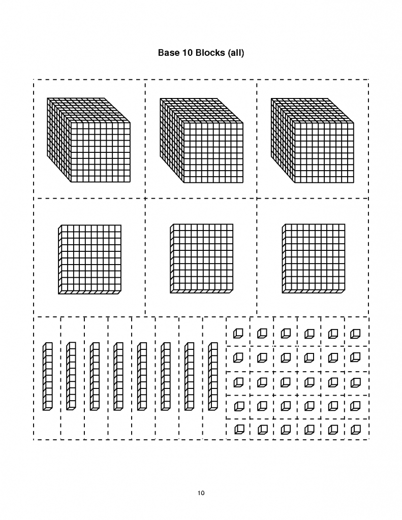 Base Ten Block Templates | Base-10 Blocks-Thousands | Math | Base | Base Ten Picture Cards Printable