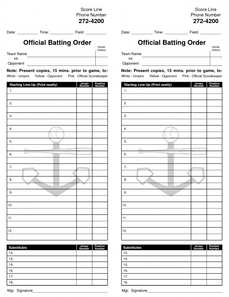 It is a photo of Gutsy Printable Lineup Card