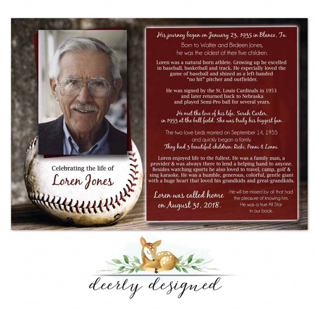 Baseball Theme Funeral Program Printable Memorial Card | Etsy | Printable Memorial Cards For Funeral