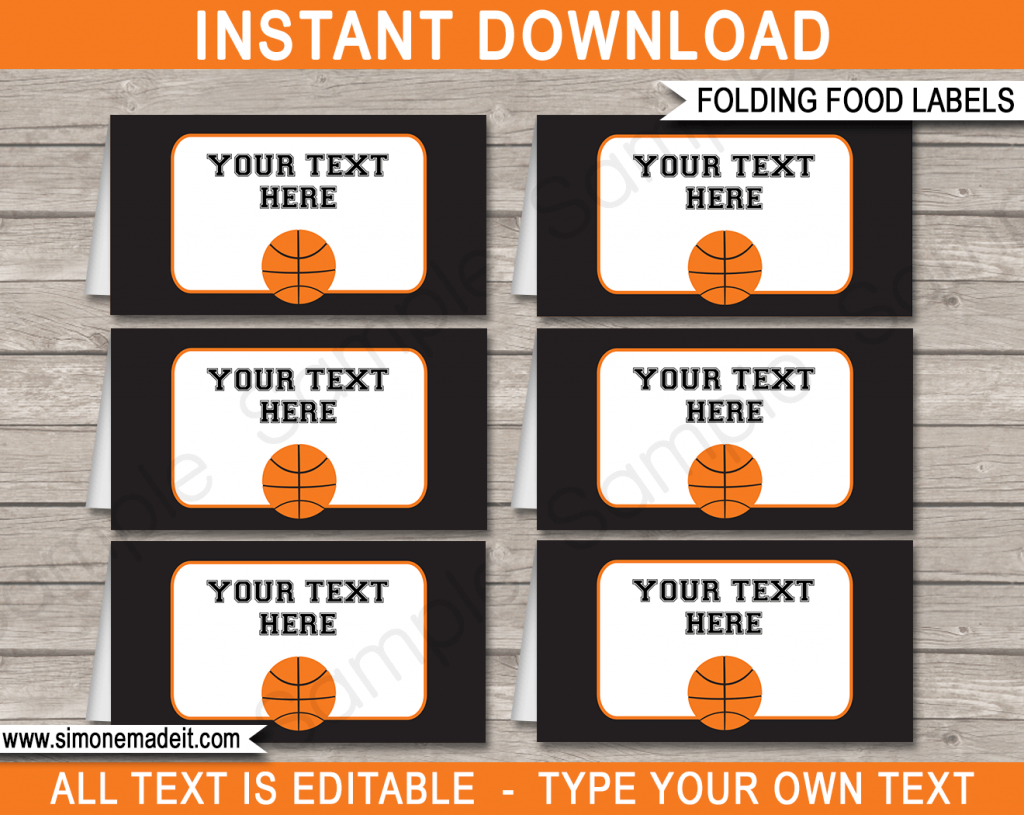 Basketball Party Food Labels | Place Cards | Party Decorations | Free Printable Basketball Cards