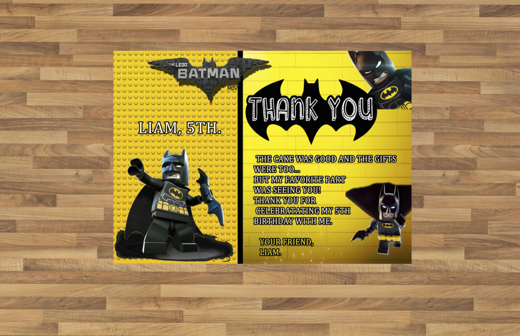 Batman Superhero Birthday Party Thank You Card Printable | Etsy | Batman Thank You Cards Printable