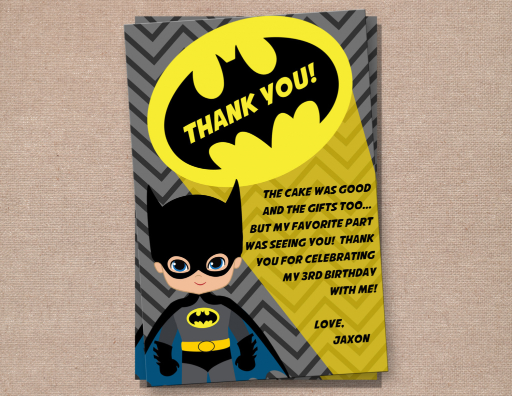 Batman Thank You Card Batman Batman Birthday Batman | Etsy | Batman Thank You Cards Printable