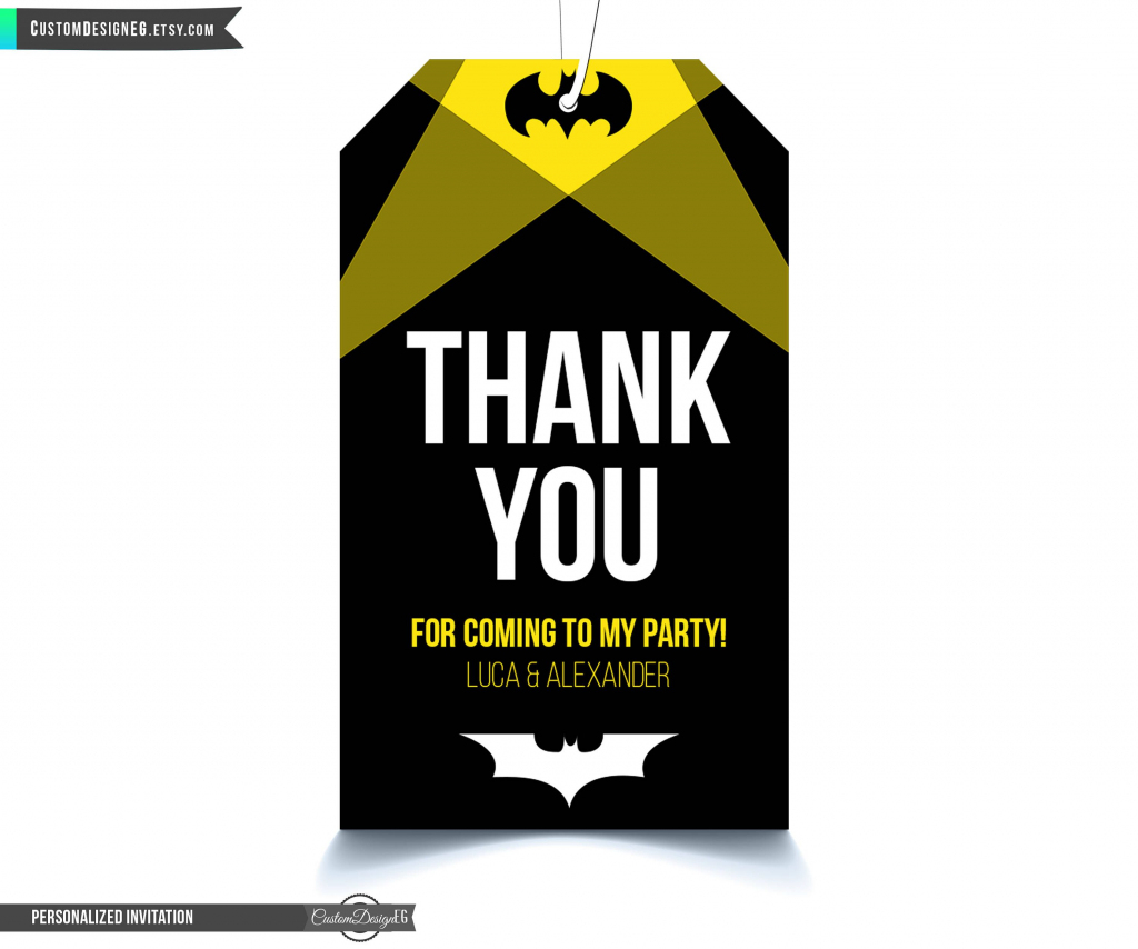 Batman Thank You Tags, Batman Tags, Batman Birthday Party, Batman | Batman Thank You Cards Printable