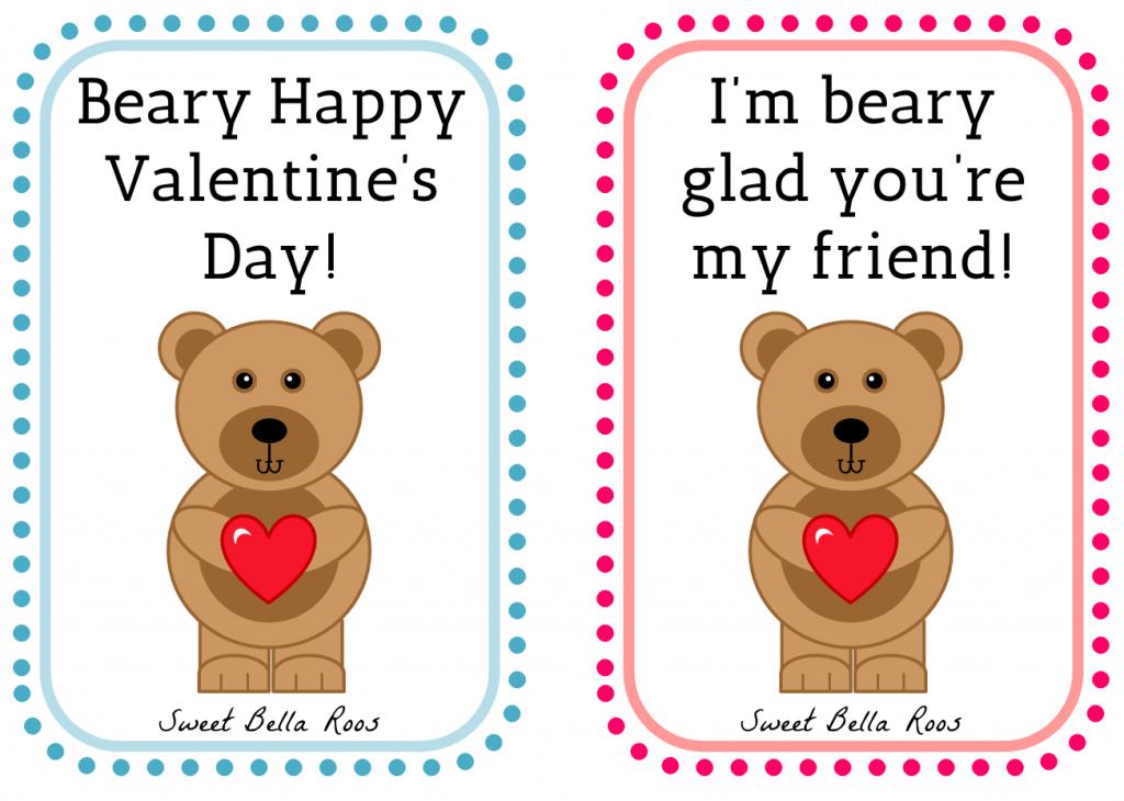 Beary Happy Valentine's Day- Free Printable | Valentine's Day | Happy Valentines Day Cards Printable