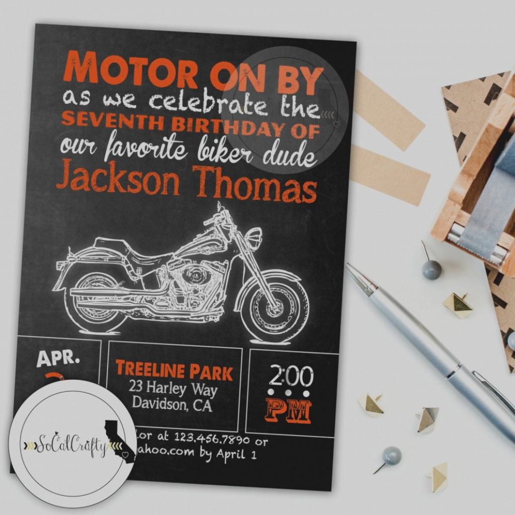Beautiful Of Harley Davidson Birthday Invitations Baby Shower | Harley Davidson Cards Printable