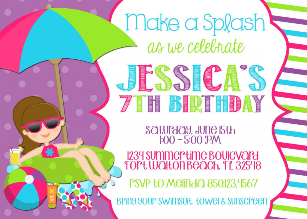 Best Pool Party Invitation Ideas | Invitations Card | 7Th Birthday Invitation Card Printable