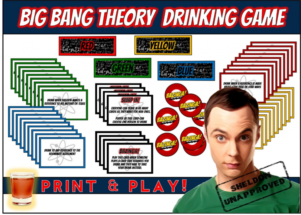 Big Bang Theory Drinking Game - Print & Play! | Bang Card Game Printable