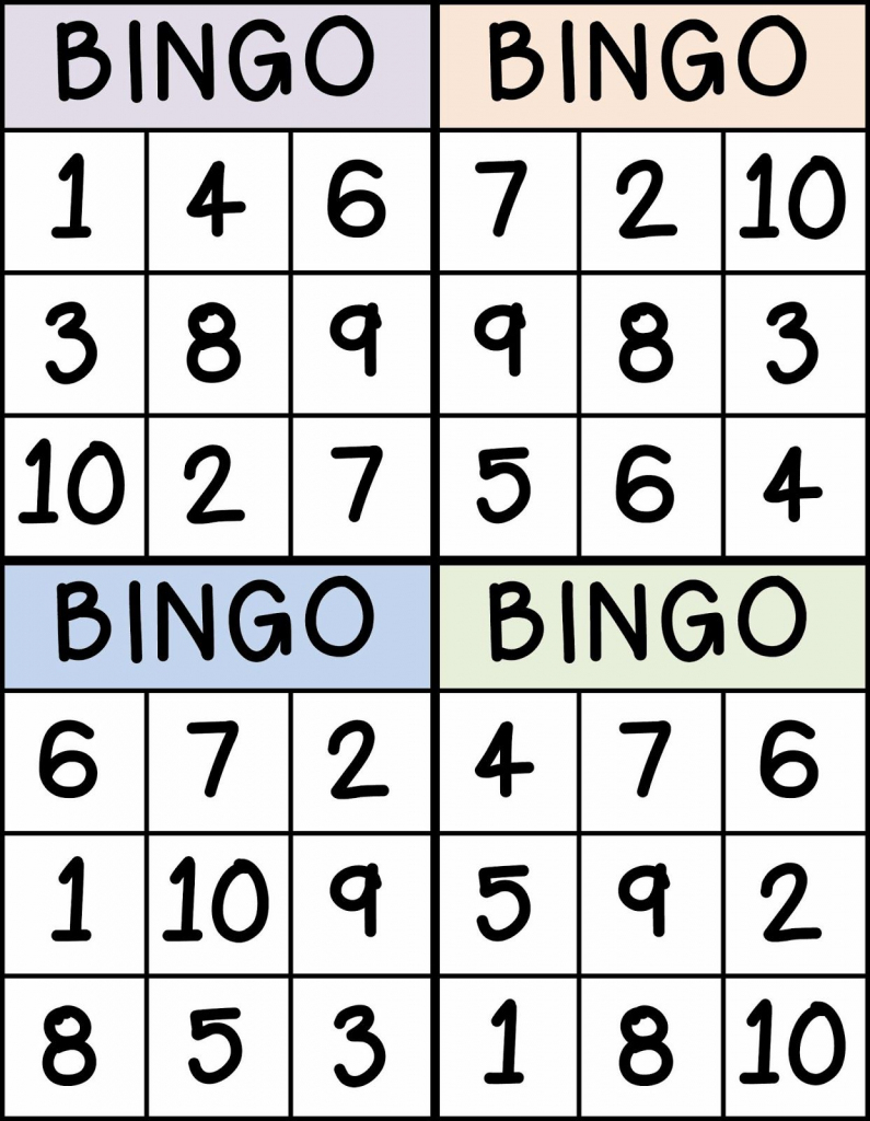 Bingo For Numbers 1-10. Great For Preschool Number Identification | Free Printable Bingo Cards 1 100