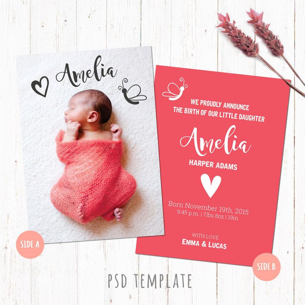 Birth Announcement Template Card. Baby Girl Birth Card. Newborn Card | Free Printable Baby Birth Announcement Cards