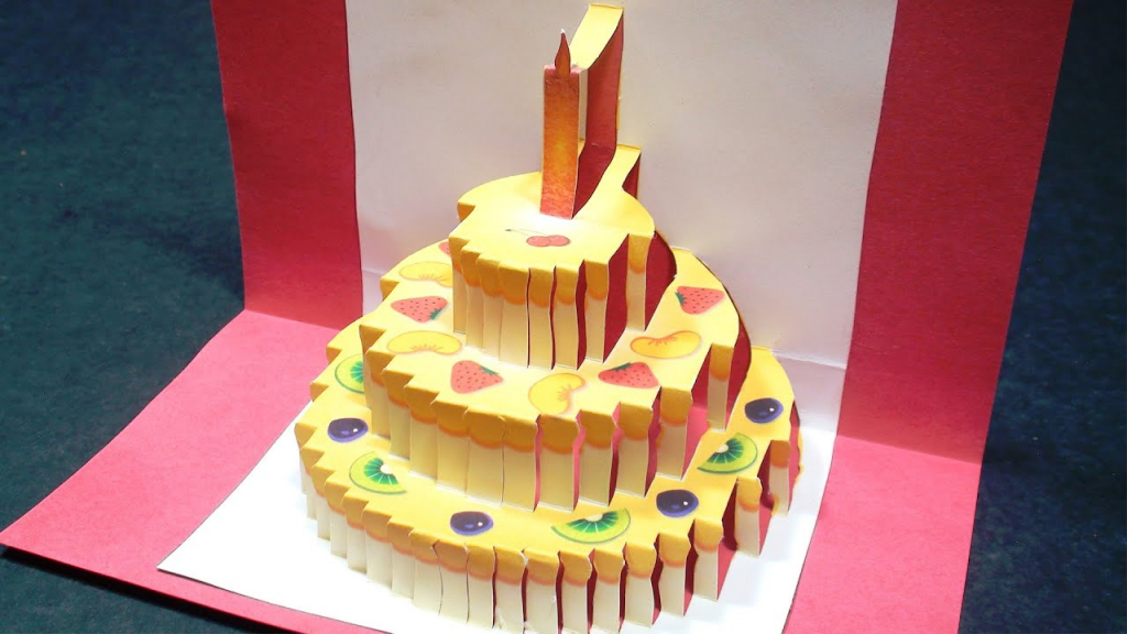 Birthday Cake Pop Up Card (Happy Birthday Kirigami) | Free Template | Free Printable Pop Up Birthday Card Templates
