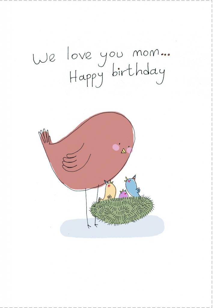 Birthday #card Free Printable We Love You Mom Greeting Card | Free Printable Birthday Cards For Mom