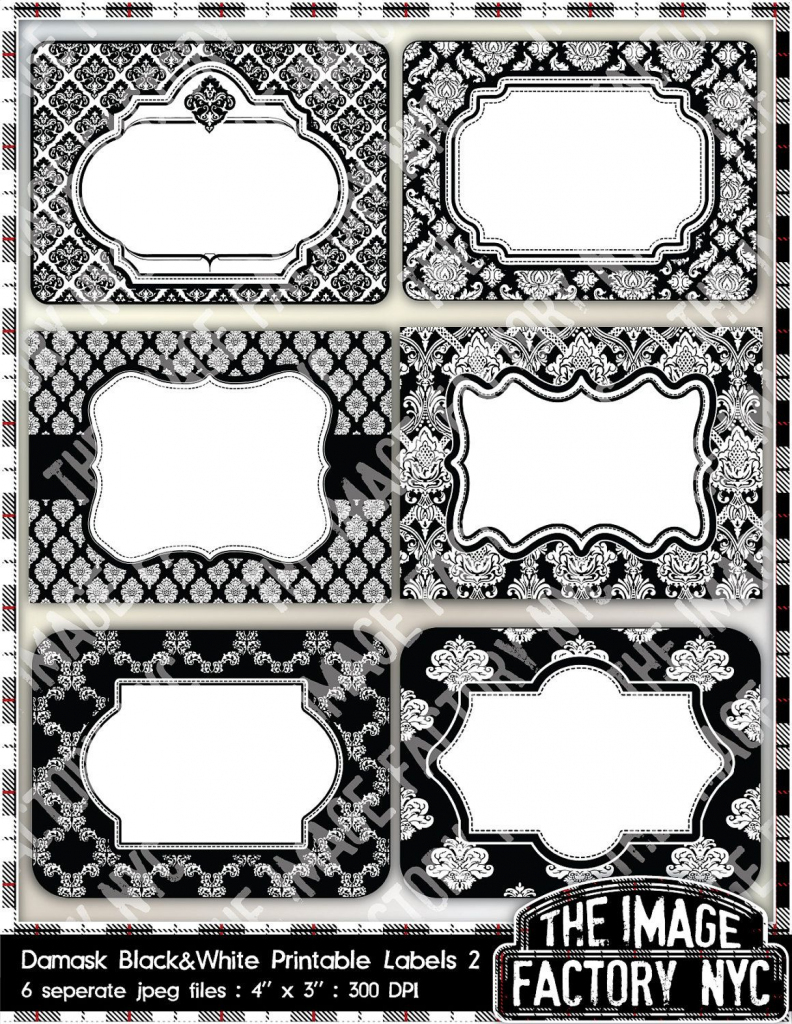 Black And White Damask Printable Labels & Tags, For Gift Tags, Place | Free Printable Damask Place Cards
