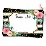 Black & White Pink Floral Thank You Cards Printable Thank You | Etsy | Printable Thank You Card Black And White
