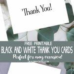 Black & White Thank You Cards   Free Printable   Kleinworth & Co | Free Printable Thank You Cards Black And White