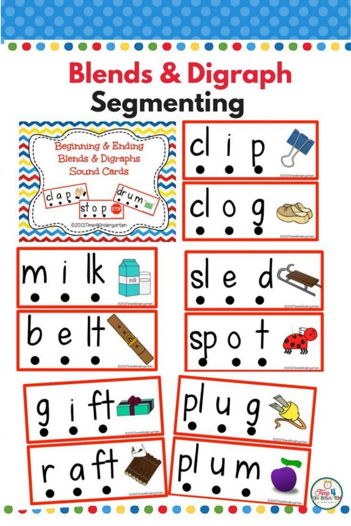 Blends And Digraphs Cards For Sound Segmenting | Kinderland | Free Printable Blending Cards