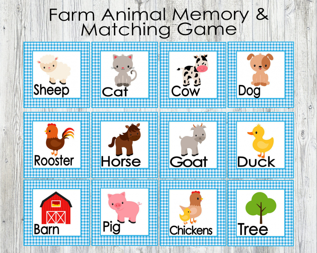 Blue Farm Animal Matching And Memory Game. Printable Game For | Etsy | Animal Matching Cards Printable