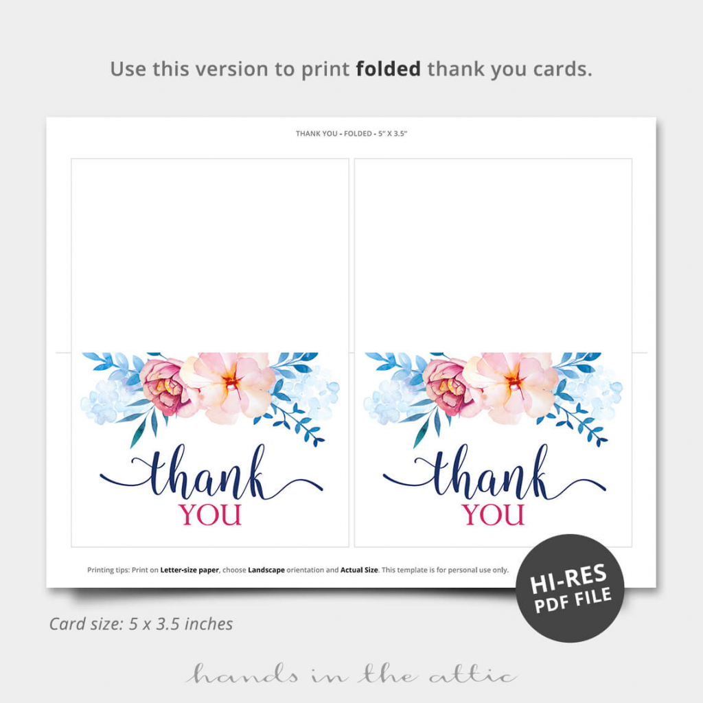 Blue Florals Thank You Card | Printable Stationery | Hands In The Attic | Printable Thank You Cards Pdf