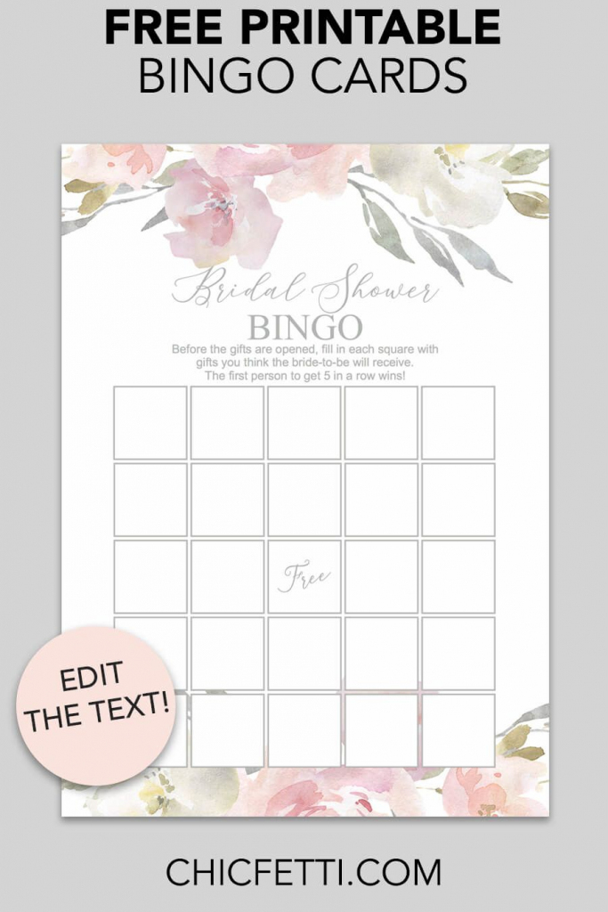 Blush Floral Printable Bridal Shower Bingo | Free Wedding Printables | Free Printable Bridal Shower Cards