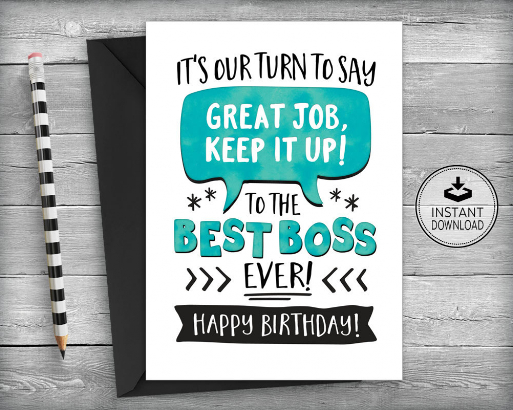Boss Birthday Card Card For Boss Boss Appreciation Card | Etsy | Boss's Day Printable Cards