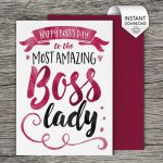Boss's Day Card Bosses Day Card Printable Card Boss | Project Ideas | Bosses Day Cards Printable