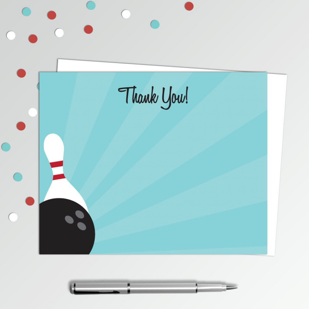 "Bowling Thank You Cards - Bowling Birthday Party - Printable Thank You Note  - Birthday Thank You Notes - 4X5"" Flat Card - Printable Card 