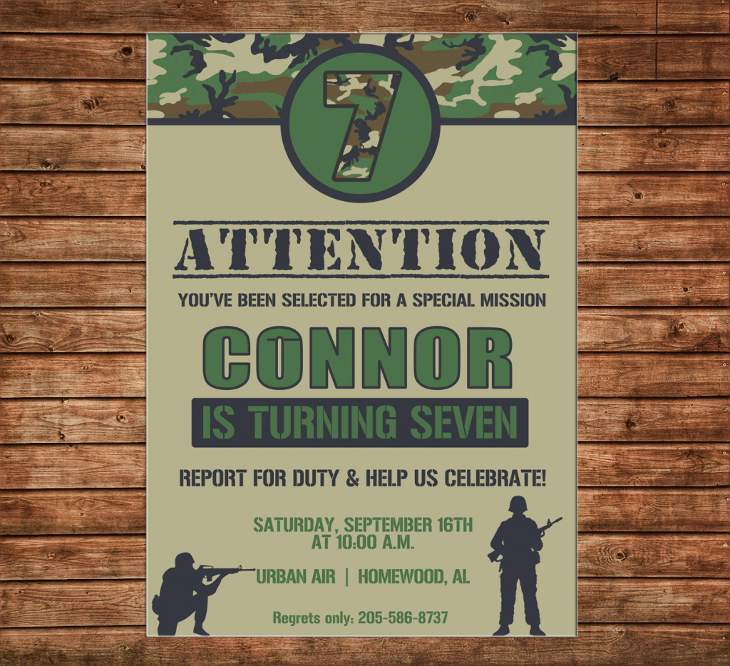 Boy Invitation Camo Camouflage Army Birthday Party - Can | Army Birthday Cards Printable