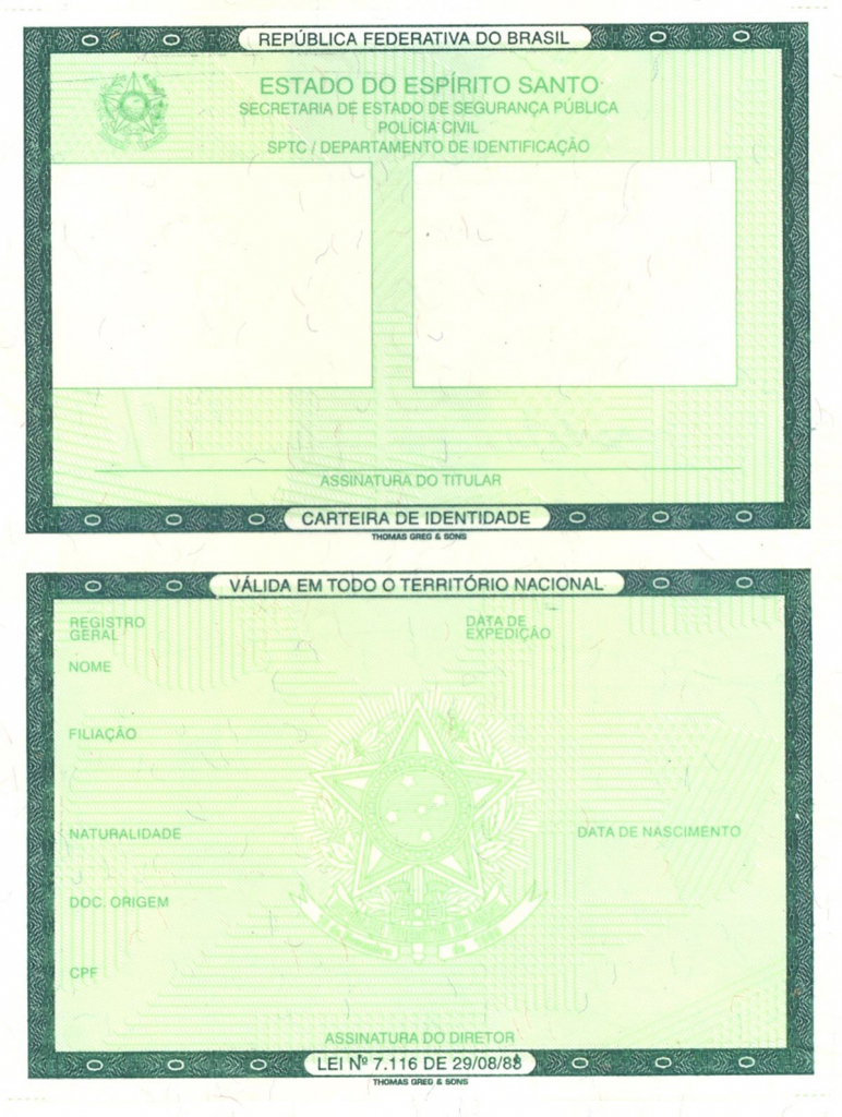 Brazilian Identity Card - Wikipedia | Free Printable Child Identification Card
