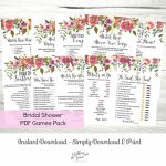 Bridal Shower Games Mega Pack Of 10 Printable Pdf Games, Pink Floral | Printable Card Games Pdf