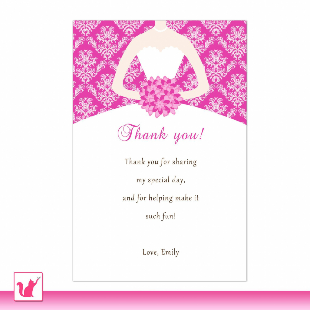 Bride Dress Bridal Shower Thank You Card Hot Pink Thank You Note | Printable Quinceanera Birthday Cards