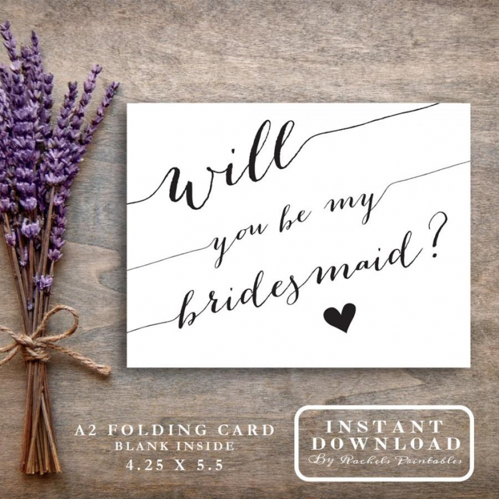 "Bridesmaid Card Printable ""will You Be My Bridesmaid"" Asking 