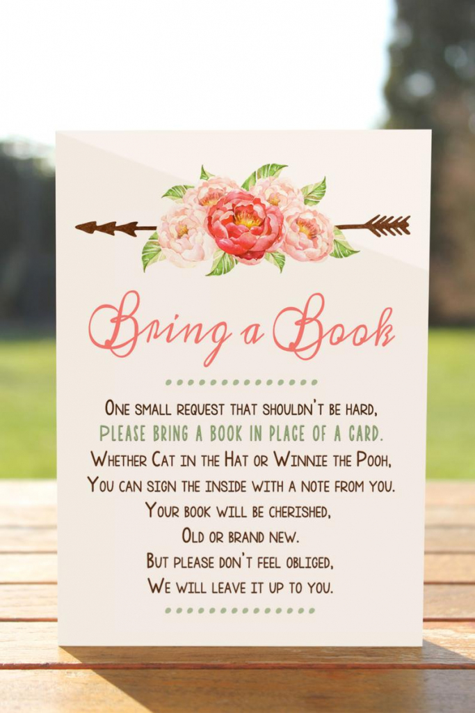 Bring A Book Instead Of A Card Bring A Book Baby Shower | Etsy | Please Bring A Book Instead Of A Card Printable