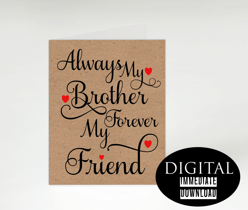 Brother Birthday Card,printable Card,instant Download, Birthday Card | Happy Birthday Brother Cards Printable