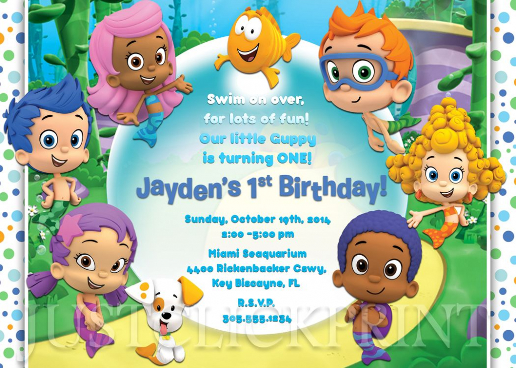 Bubble Guppies Birthday Invitation Printable Boy/girl From Just | Bubble Guppies Printable Birthday Cards