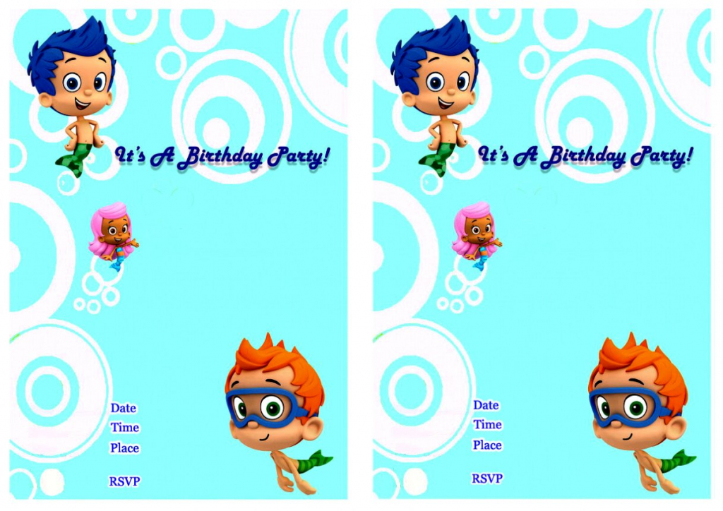 Bubble Guppies Invitation Template Boys Birthday Templates | Bubble Guppies Printable Birthday Cards