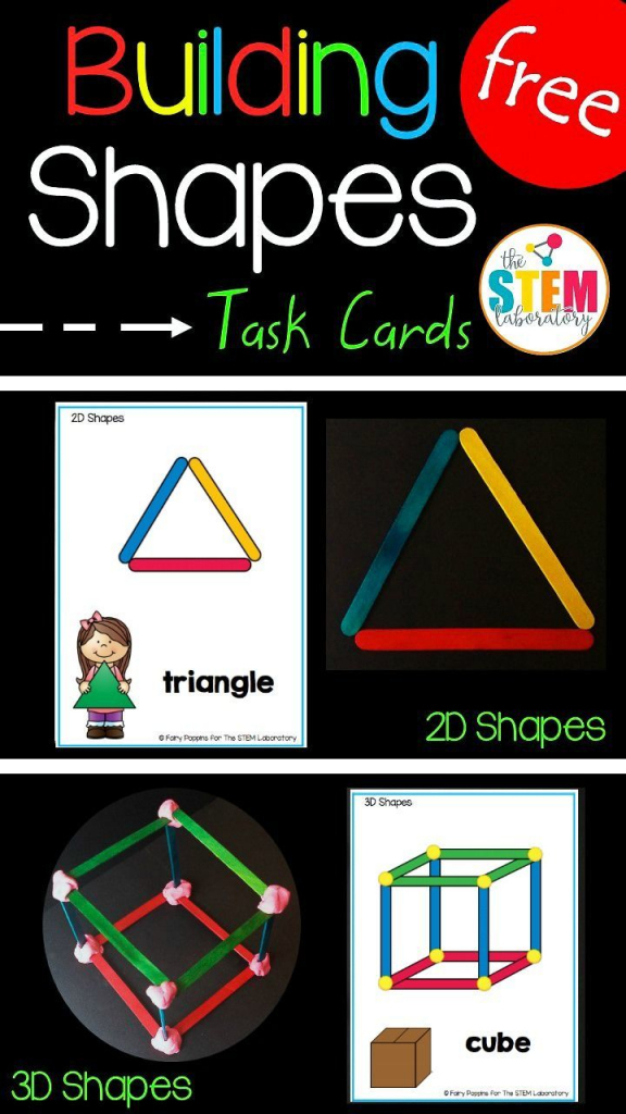 Building Shapes Stem Cards | Teaching Math | Preschool Math | Popsicle Stick Pattern Cards Printable