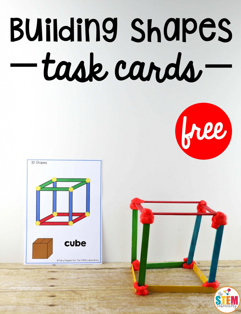 Building Shapes Stem Cards - The Stem Laboratory - Free Printable | Free Printable Kindergarten Task Cards