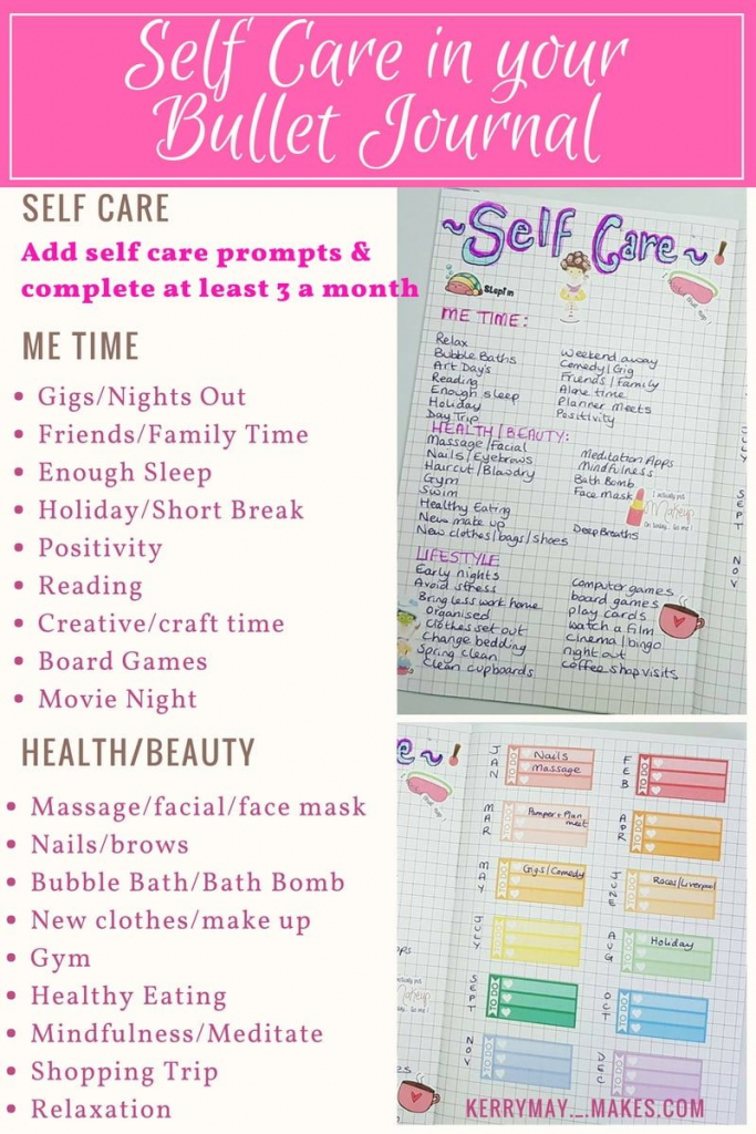 Bujo Self Care Spread Ideas And Free Printable In My Bullet Journal | Self Care Cards Printable