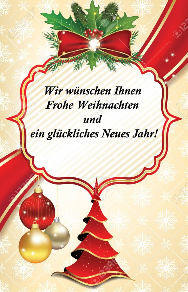 Business Greeting Card For The Year With Text In German Language | Free Printable German Christmas Cards