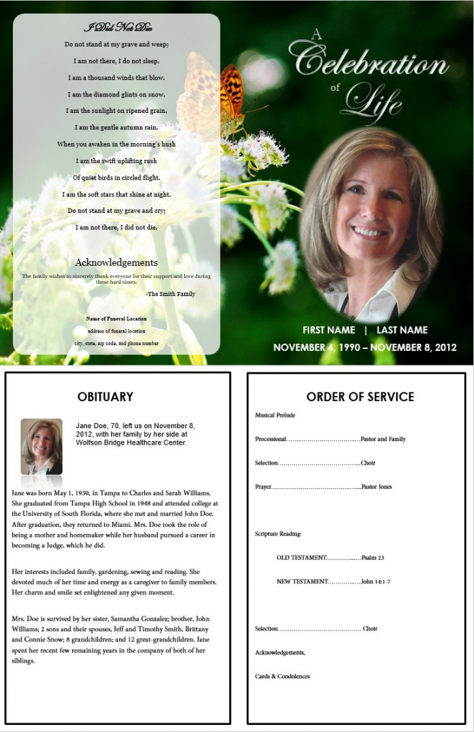Butterfly Memorial Program | Memorials | Funeral Memorial, Memorial | Free Printable Memorial Card Template