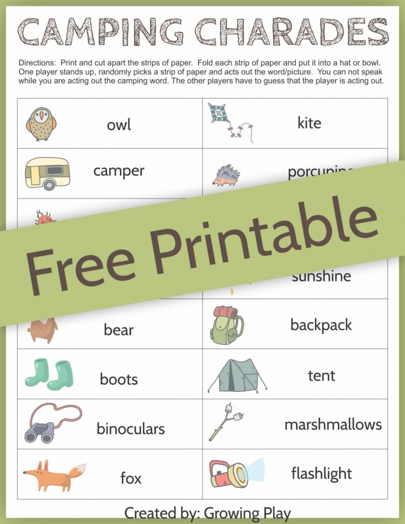 Camping Charades Game For Kids - Free Printable | Camping | Free | Free Printable Charades Cards