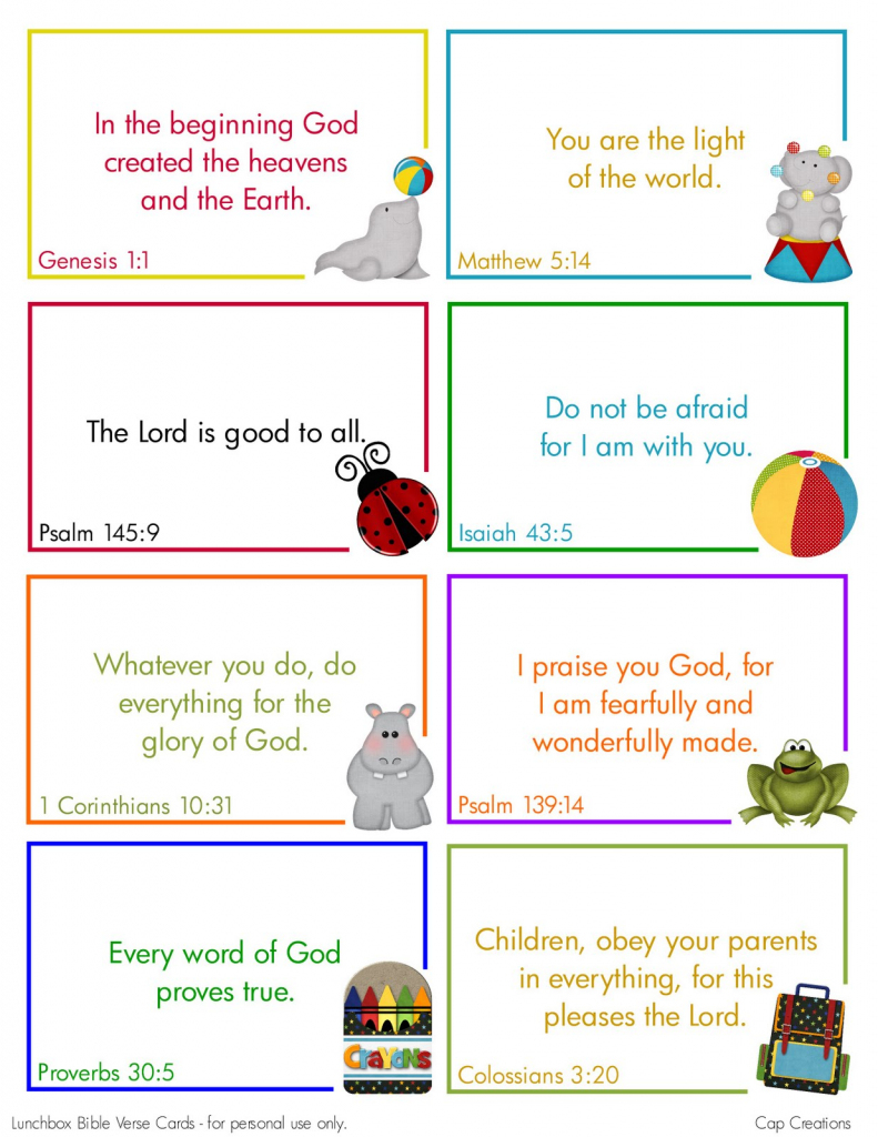 Cap Creations: Free Printable Lunchbox Bible Verse Cards | Printable Bible Verse Cards