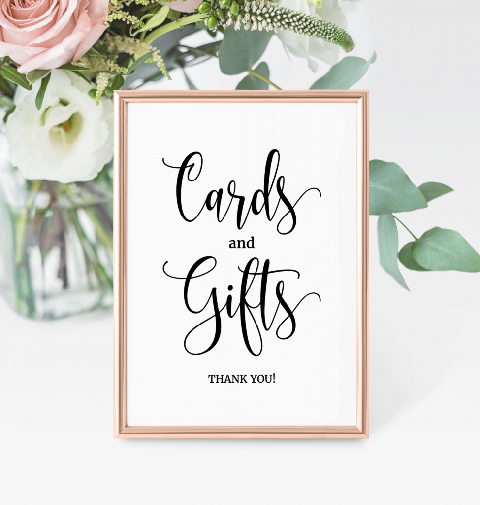 Cards And Gifts Wedding Sign, Printable Gifts Sign, Printable Cards | Cards And Gifts Printable Sign