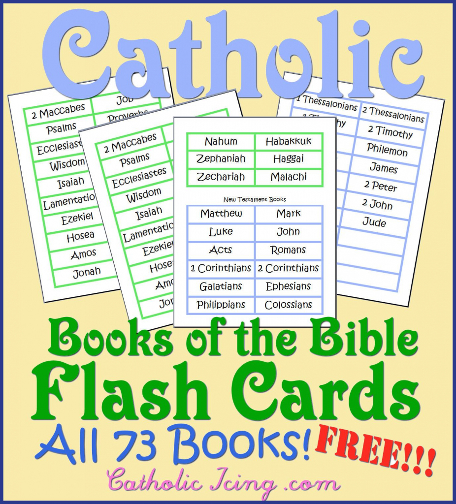 Cathoilc Books Of The Bible Flas Cards All 73 Books Free | Catholic | Bible Book Flash Cards Printable