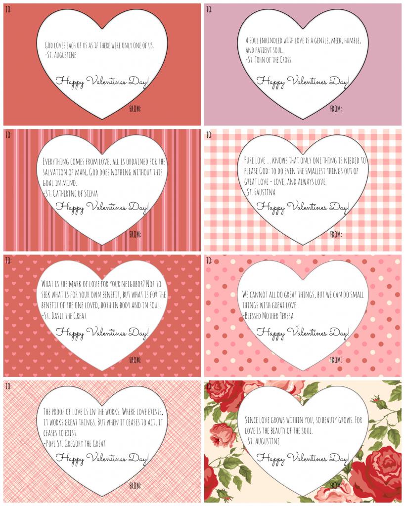 Catholic Valentine Cards: Free Printables! - California To Korea | Valentine Free Printable Cards