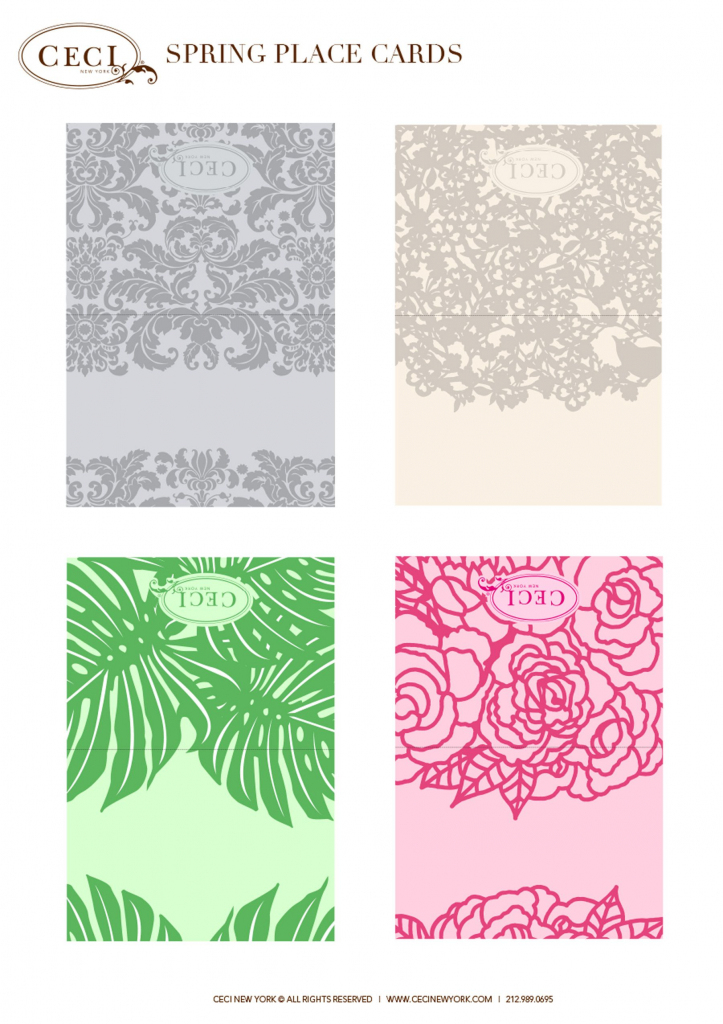 Cecistyle - Make This! - Ceci New York Spring Place Cards. #template | Free Printable Damask Place Cards