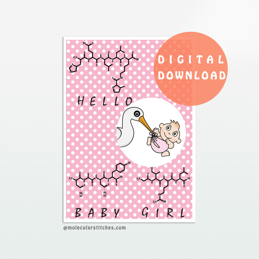 Chemistry Baby Girl Card Science Baby Girl Card New Baby   Etsy   Baby Girl Card Printable