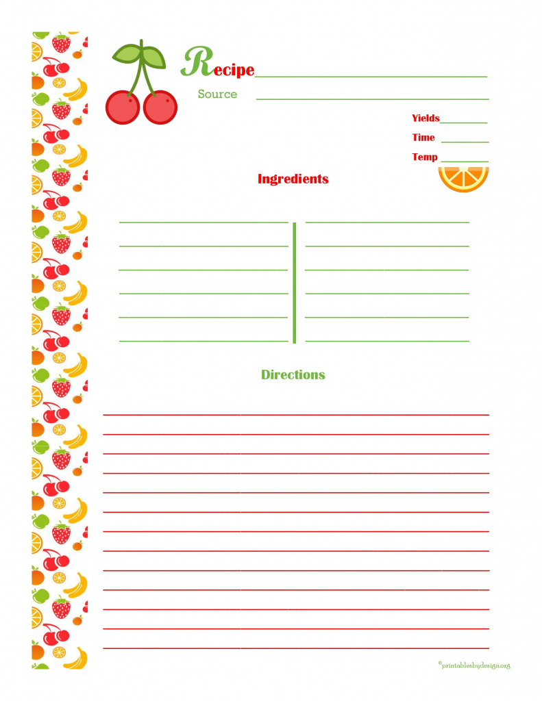Cherry & Orange Recipe Card - Full Page | Cool Recipe Cards | Recipe | Homemade Card Templates Printable