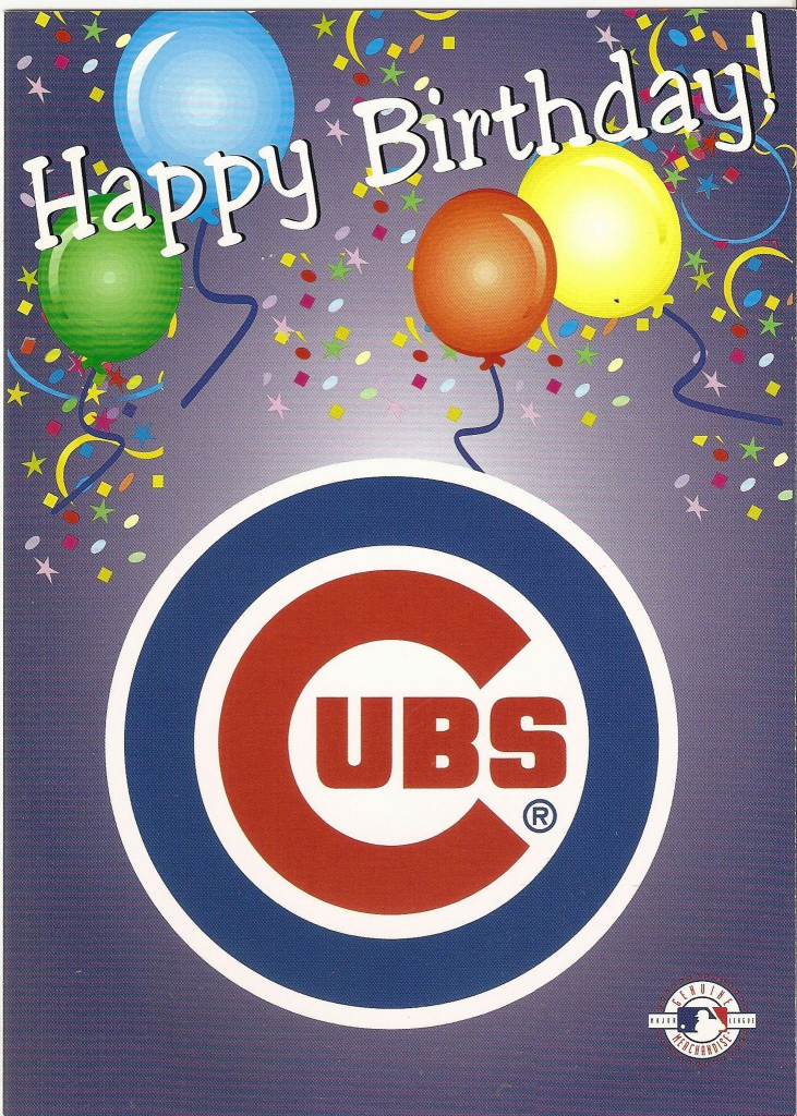 Chicago Cubs Happy Birthday Greeting Card | Birthday | Chicago Cubs | Printable Chicago Cubs Birthday Cards