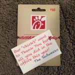 Chick  Fil A Gift Card | Teachers Gifts | Teacher Appreciation Gifts | Chick Fil A Printable Gift Card